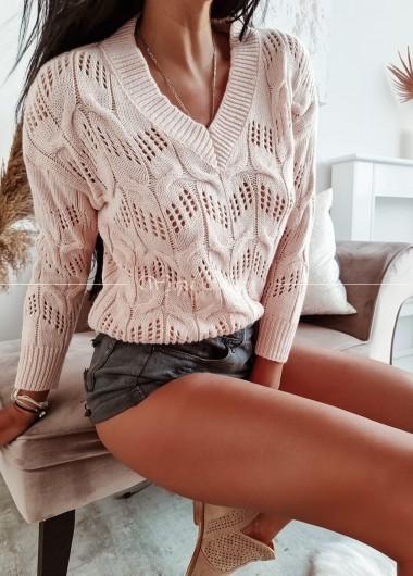 Sweterek ażur poli pink