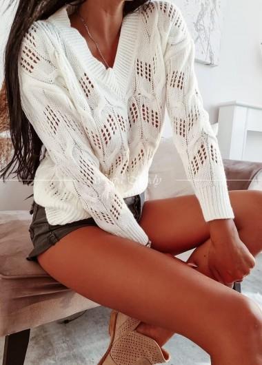 Sweterek ażur poli white