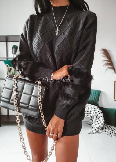Sweterek long black