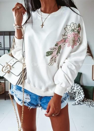Bluza flowers white