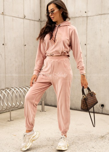 Komplet welurowy love pink