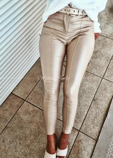 spodnie beige woskowane
