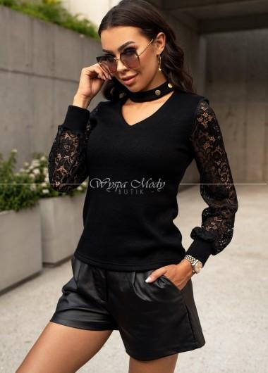 Sweterek hoker koronka black