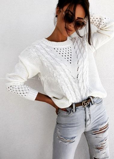 Sweterek warkocz white MANUEL
