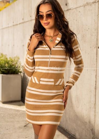 Sukienka w paski Aster Brown