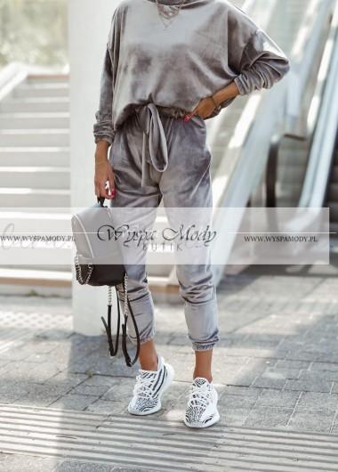 Welurowy komplet Lara Fashion grey