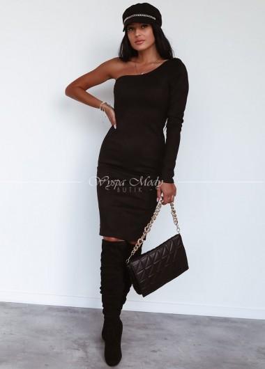 Sukienka zamszowa na jedno ramienie black