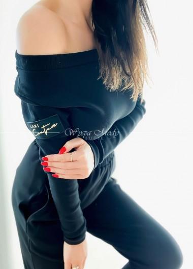 Bluzka prążek laki coulture black