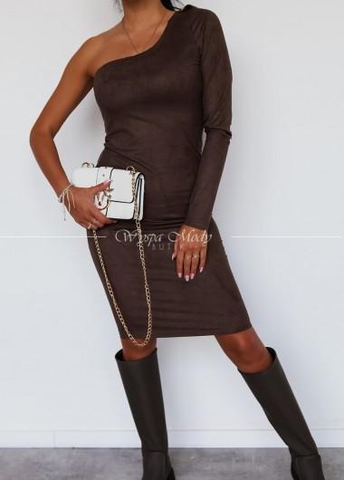 Sukienka zamszowa na jedno ramie brown