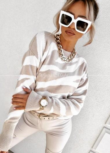 Sweterek zebra jasny bez