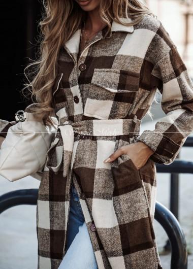 Płaszcz krata brown