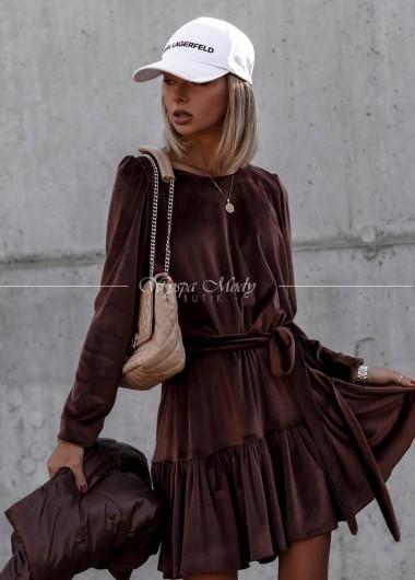 Sukienka welurowa Marcella Brown