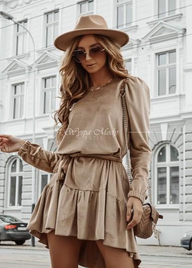 Sukienka Welurowa Marcella camel