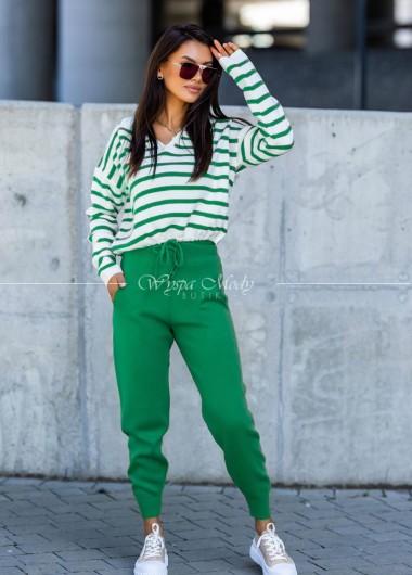 Komplet spodnie + sweter stripes green