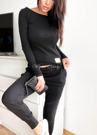 Bluzka prążek laki black