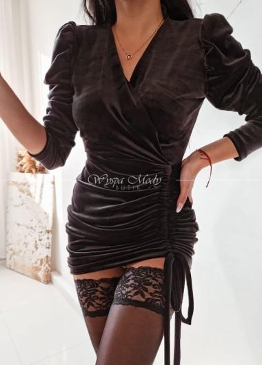 Sukienka welurowa ściągacz black