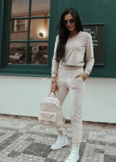 Komplet spodnie + bluza welurowa Beige blanka