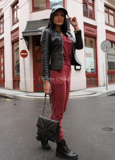 Komplet spodnie + bluza welurowa blanka bordo