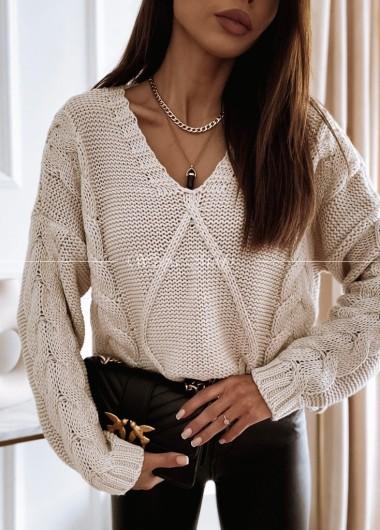 Sweter warkocz beige