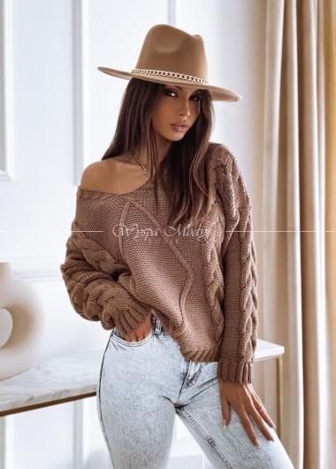 Sweter warkocz camel