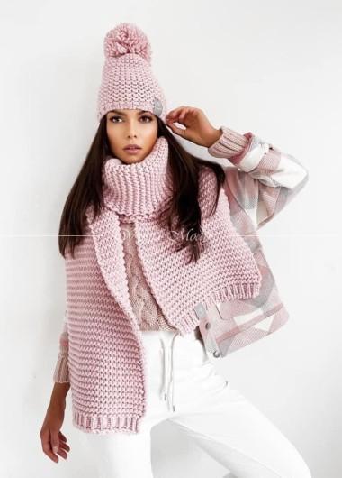 Szal gruby winter pink